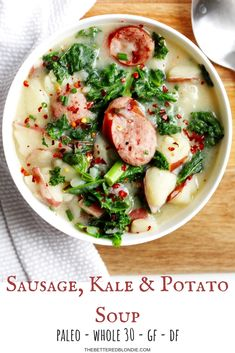 Kale and Potato Soup - Creamy and comforting soup made with flavorful kielbasa, tender potatoes and nourishing kale. This -Sausage, Kale and Potato Soup - Creamy and comforting soup made with flavorful kielbasa, tender potatoes and nourishing kale. Paleo Soup, Whole Food Recipes, Diet Recipes, Cooking Recipes, Healthy Recipes, Cooking Tips, Recipes Dinner, Paleo Meals, Whole 30 Recipes