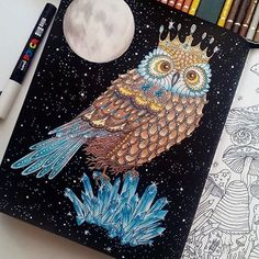 Look at this night owl coloring I found scrolling through #hannakarlzon ✨Its a page from my coloring book Sommarnatt/Summer nights colored by @evatichaa ✨ I love the added sparkles and the full moon, dont you?!✨Ps.Im still in vacation mode, so Im slow on the updates right now but on wednesday I will be back at the office again. #adultcoloring #coloringbook #sommarnatt #summernights #repost #posca #owl #uggla #målarbok