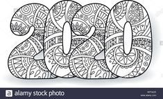 Stock Vector – Happy New Year 2020 celebration number. Vector Xmas illustration in zentangle. Christmas background – back Free Christmas Backgrounds, Christmas Wallpaper Free, New Year Coloring Pages, Colouring Pages, Art And Illustration, Christmas Illustration, Holiday Iphone Wallpaper, New Year Art, Free Adult Coloring