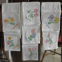 This set of 7 day of the week towels are hand painted with beautiful flower designs. They make an an excellent bright addition to any kitchen decor. These flour sack towels is ecru, and measures approximately 27 inches X 32 inches, is made of 100% cotton and is lint-free. The towels have been pre-washed and ironed. The paint used to create the design is non toxic. The towels pictured are the towel you will receive. Washing Instructions: Machine wash cold and tumble dry low. Flour sack towels…