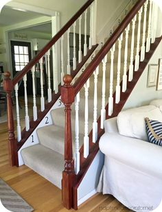 Banister Restyle in Java Gel Stain White Staircase, Staircase Design, Stained Staircase, Diy Stair Railing, Stair Treads, Banister Remodel, Java Gel Stains, Banisters, Banister Ideas