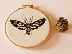 Tiger-Striped Clearwing Tiger Wasp Moth Hoop Embroidery Textile Art Entomology…