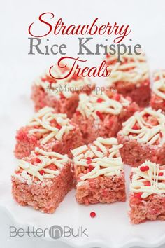 Valentine's Day Strawberry Rice Krispie Treats - the perfect pink dessert to make for your sweetheart on Valentine's Day. Quick and easy dessert!