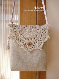 ハンドメイド布雑貨生活 ~Azurと私~ Crochet Wool, Crochet Motif, Diy Crochet, Crochet Designs, Crochet Patterns, Crochet Clutch, Crochet Handbags, Crochet Purses, Crotchet Bags