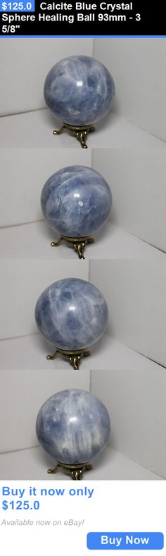 collectibles: Calcite Blue Crystal Sphere Healing Ball 93Mm - 3 5/8 BUY IT NOW ONLY: $125.0
