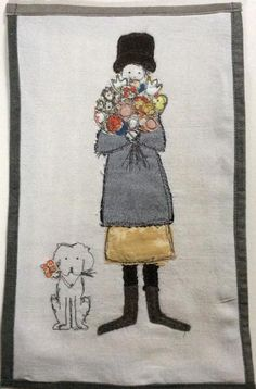 Made By Hand Online - Flowers, Girl and Dog stitched picture by Janine Pope at madebyhandonline