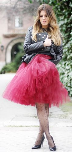 Asos Burgundy Full Midi Mesh Skirt by Mi Armario En Ruinas