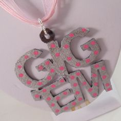 Pink and Silver Polka Dot Gig 'Em Ribbon Necklace by ScarletRoot, $20.00