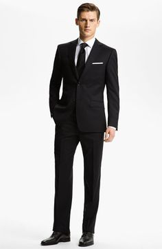 Z Zegna Trim Fit Wool Suit (Free Next Day Shipping) available at #Nordstrom Not this suit but rec that tie can be black and that putting something in breast pocket brings eye upward