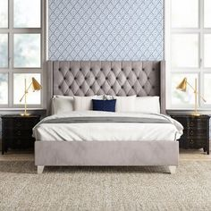 House of Hampton Tori Upholstered Platform Bed Size: Queen, Color: Gray Twin Daybed With Trundle, Bed Platform, Wingback Headboard, Upholstered Platform Bed King, Upholstered Beds, Bed Reviews, Adjustable Beds, New Beds, Panel Bed