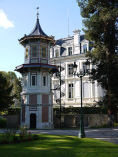 Chinese styled tower in the City Hall gardens, in Romorantin, France.