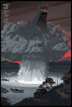 """Godzilla"" by Laurent Durieux was released in recognition of the anniversary of its original showing. Godzilla will remain a movie classic for eternity. The Crow, King Kong, Screen Print Poster, Poster Prints, Tableau Star Wars, Laurent Durieux, Cartoon Meme, Gorgeous Movie, Cool Monsters"