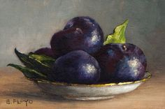 Plums in a Gold Rimmed Saucer Still-life Painting - art giclee print by Elizabeth Floyd