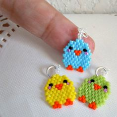 Cute Bird Charm Beaded Animal Jewelry Brick Stitch by BeadCrumbs