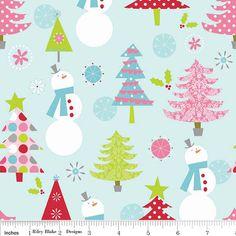 Christmas Fabric, Riley Blake Basic, Green Trees and White Snowmen on Light Blue Fabric, Cotton Yardage, Fat Quarter, Fabric By The Yard