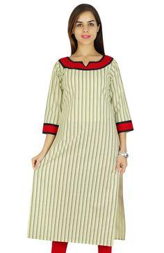 Amoghah Striped Pattern Indian Women Wear Kurti Cotton Kurta Gift