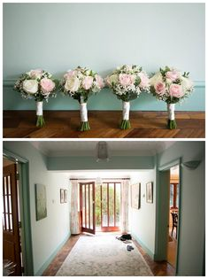 4 bouquets lined up at wall, doorway of family home before wedding, bishops stortford wedding by Rebecca Prigmore Photography Church Ceremony, Relaxed Wedding, Before Wedding, Bridesmaid Dresses, Wedding Dresses, Doorway, Bouquets, My Photos, Wedding Flowers