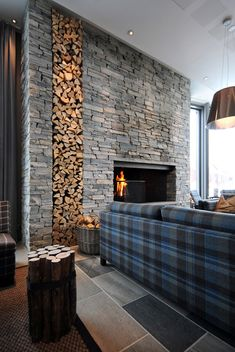 Mixed Stone and Stacked Wood Cabin Concept