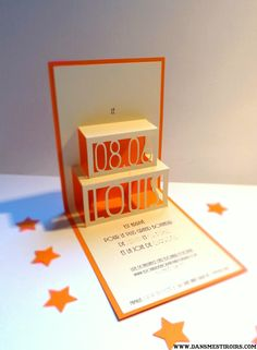 Faire part naissance original POP-UP orange et crème Fait par www.dansmestiroirs.com