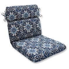 Pillow Perfect Woodblock Prism Outdoor One Piece Seat And Back Cushion - Blue