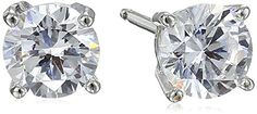 PlatinumPlated Sterling Silver RoundCut Cubic Zirconia Stud Earrings  A versatile classic, these solitaire earrings will add a touch of dazzle to any outfit. Crafted in platinum-plated sterling silver, they showcase 5mm rounds of sparkling clear cubic zirconia. The stones are cradled in four-prong settings, and the earrings are featured on posts with friction backs. The platinum plating gives these earrings a luxe finish and also makes them tarnish-proof and hypoallergenic.         P..