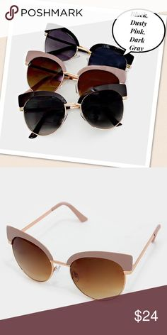 "Double Cat Eye Sunglasses Double Decker Cat Eye Gold Tone Frame Sunglasses - (Choose Black, Dusty Pink, or Dark Gray) Vintage/Retro/Pinup Style. • Size : 5.5"" W, 2.25"" L Celebrity Eyewear Accessories Sunglasses"