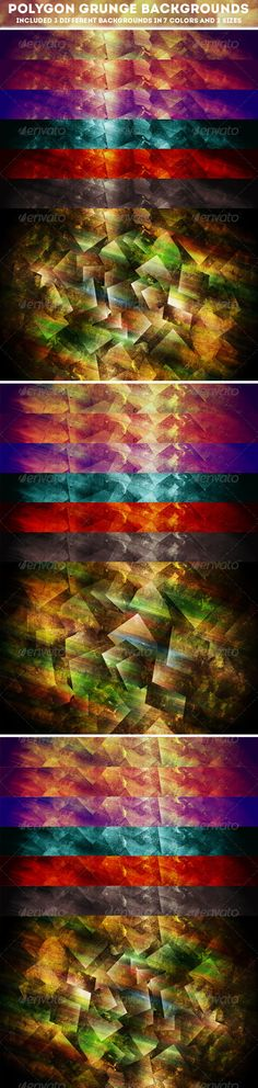 Grunge Polygon Colorful Abstract Backgrounds Collection. Set of 21 geometric textures with cubes ( 3 different backgrounds in 7 co