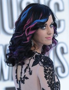 Beautiful blue, purple, & pink hair highlights.