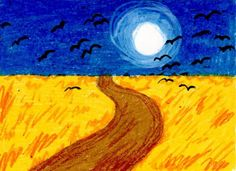 To make a Vincent Van Gogh art project, try imitating his Wheat Field with Crows. It shows a dramatic, cloudy sky filled with crows over a wheat field.