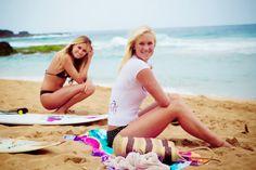 Bethany Hamilton and Alana Blanchard on the beach together.