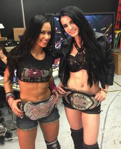 AJ Lee Divas Champion and Paige NXT Womens Champion