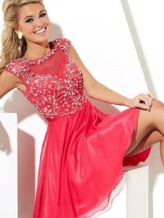 A-Line/Princess Bateau Sleeveless Beading Short/Mini Chiffon Dresses - Homecoming Dresses 2015 - Homecoming Dresses