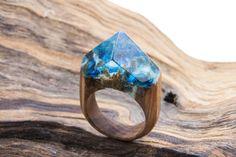 Wooden ring Azure Wooden resin ring. Wood ring. Magic ring.