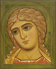 Orthodox Christian icon with 666 curls of hair on each shoulder. Byzantine Icons, Byzantine Art, Doreen Virtue, Religious Icons, Religious Art, Noli Me Tangere, Paint Icon, Archangel Gabriel, Russian Icons