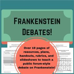the toulmin model shows how you should appear in argumentative  frankenstein debate 19 pages of handouts rubrics plans thesis statementargumentative essaymary shelleylistening skillsassessmentenglish
