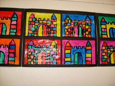 Castle artwork for fairy tales craft idea Fairy Tales Unit, Fairy Tales For Kids, Classroom Art Projects, Art Classroom, Castles Topic, Chateau Moyen Age, Castle Crafts, Fairy Tale Crafts, Kindergarten Art Lessons