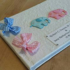 Baby Book for Twins Appliqué Elephants £25.00