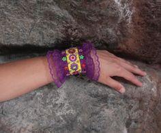 Lace bracelet Lace Cuff purple and yellow by NevelynkaNasha, $65.00