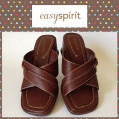 Easy Spirit Wedged Sandal Easy Spirit Wedged Sandal. Like new,  comfortable wedged sandals, leather upper, man made sole, size 7 1/2 D Color-Wine Easy Spirit Shoes Sandals