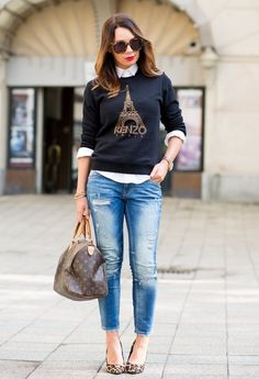 black sweater graphic tee shirt white button down shirt jeans leopard flats