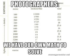 Photography Meme #chart #iso #aperture #fstop #shutterspeed #funny #lol #photographers #Math #special #meme
