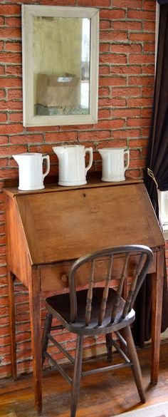 Farmhouse Writing Desk. Love the brick interior wall, which we could do on an addition, by just using the existing exterior wall inside.