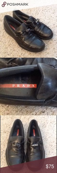 PRADA NAPA SPORT TOGGLE BLACK LEATHER LOAFER SHOES PRADA sz 38 or US sz 7.5-8 Napa Sport Toggle black leather loafers.  Excellent condition!  Will ship right away.  Check out my other designer items Prada Shoes Flats & Loafers