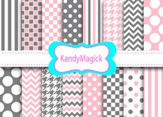 BUY 2 Get 1 FREE. 16 Digital Papers. Two Tone Patterns in Pink and Grey (5 no 23) for Personal Use and Small Commercial Use Scrapbooking on Etsy, $1.68