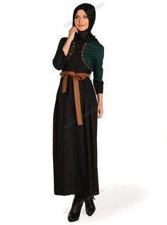 Takım Görünümlü Elbise 31548 - Siyah Yeşil - Deniz Akdağ