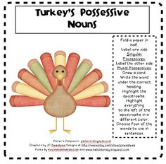 LA - Possessive Nouns - Turkey's Possessive Nouns (w/ Graphic Org) FREEBIE via Pitner's Potpourri