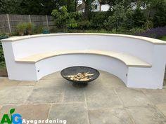 Landscaping Richmond Semi circular bench rendered white with sandstone coping Cool Furniture, Outdoor Furniture, Outdoor Decor, Seating Areas, Garden Seating, White Gardens, Patio Design, Surrey, Garden Ideas