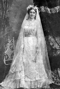1880s:  A beautiful bride on her wedding day via Florida Memory