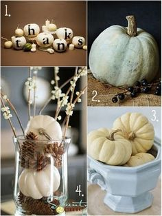 Love white pumpkins! Cute Thanksgiving Table ideas