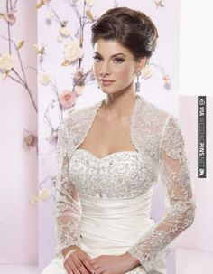 Love!  Charming long sleeve with appliques wedding dress jacket | VIA #WEDDINGPINS.NET